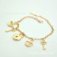 东莞盛意饰品加工厂专业定制 小皇冠钥匙锁时尚镶钻手链 饰品批发
