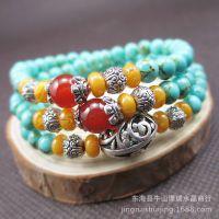 仿古绿松石多圈手链 人造多层手串 民族风 东海水晶时尚饰品批发