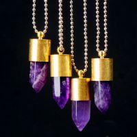 新款 速卖通 亚马逊 欧美 外贸饰品 金色 子弹形状 六角柱 项链