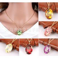 速卖通新品 欧美外贸 时尚多色时光宝石项链 短款项坠小饰品XL233