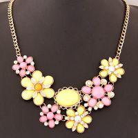欧美时尚 金属波西米亚风情甜美花朵气质短款项链速卖通热销