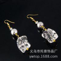 时尚亚克力耳环 欧美风镶钻合金耳环透明白色水晶精美水滴形耳环