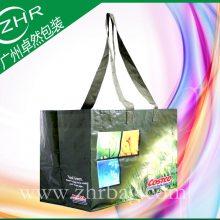 国外仓库超市购物袋 手提塑料PP编织袋 加长肩带编织彩印礼品袋 精美耐用
