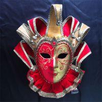 厂家直销威尼斯风格手绘面具纸浆全脸面具加工