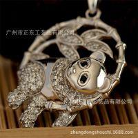 S925纯银熊猫吊坠 中国风 高端微镶时尚饰品 番禺正东珠宝 加盟