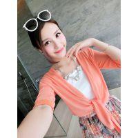 小银子2015夏装新款百搭两穿系带短款薄透气防晒开衫女M4418