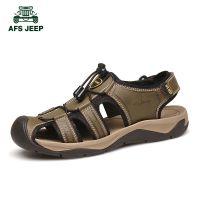 战地吉普凉鞋男夏季真皮包头男士凉鞋沙滩鞋户外休闲运动凉鞋