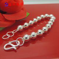 供应纯银 S990纯银手链 纯银圆珠男手链 佛珠纯银男士手链 8MM