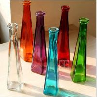 彩色透明简约现代玻璃细高小花瓶 创意三角插花瓶玫瑰花瓶
