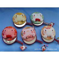 厂家直销 日本招喜屋和风系列招财猫手工布艺 猪猪手柄镜化妆镜子