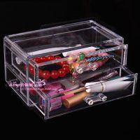 高档透明两层首饰盒 欧式透明亚克力桌面化妆品收纳盒子