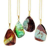 新款  速卖通 亚马逊 外贸饰品 彩色 不规则天然石项链  厂价批发