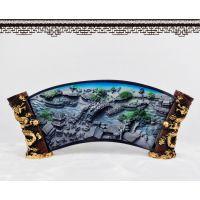 水晶浮雕中国特色清明上河图工艺品 桌面摆设送老外商务礼物礼品