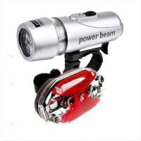 5LED强光手电 多功能自行车灯前灯+5LED尾灯组合 配件