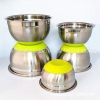 不锈钢防滑硅胶底沙拉碗 沙拉盆 打蛋盆 搅拌盆 发奶油 色拉碗