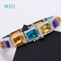 牧乐珠宝天然水晶半宝石紫晶黄晶蓝晶柠檬晶时尚大气女式彩宝手链