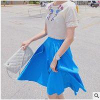 供应韩国代购女装夏天新款 超大下摆公主款纯色半高腰身伞裙ZZ2622
