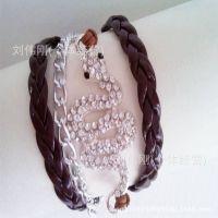 义乌外贸出口镀银首饰多层皮绳缠线蛇满钻手链速卖通专供一件代发