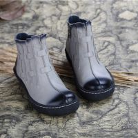 2015秋冬新款女鞋原创设计手工复古擦色打蜡羊皮高档鞋休闲平底靴