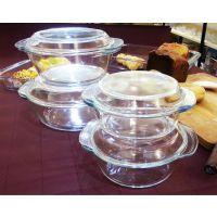厂家直销 高硼硅耐热玻璃器皿 1.0L璃水晶煲 平底玻璃烤盘