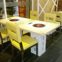 专业定做 自助餐厅火锅桌 韩式环保无烟火锅桌 多人位小火锅桌