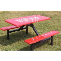 康腾体育厂家直销 4人位食堂餐桌椅 玻璃钢户外广告桌椅 员工餐厅单位餐桌