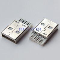 USB A公短体焊线式 2.0线端连接插头 铜端铁端