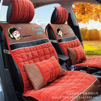 韩国新款玫红车垫男女汽车座垫四季通用冬季坐垫棉垫保暖加厚座套