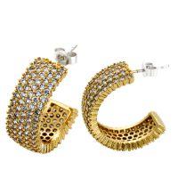 欧美外贸饰品 新款高档镶钻耳钉 c字形耳环 速卖通ebay热卖饰品