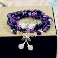 水晶手链 天然 紫纹玛瑙樱桃手串 佛珠 手饰批发 跑江湖新产品