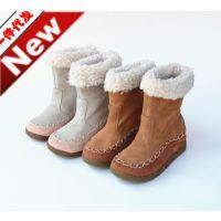 欧美外贸原单出口冬季童靴 真皮毛绒哈巴狗女童鞋 保暖中童短靴