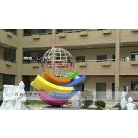 教学楼门口不锈钢地球仪雕塑 抽象不锈钢校园雕塑鸿景雕塑制作