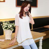 夏季新款时尚纯色中长款雪纺衫 韩版大码修身短袖圆领打底衫