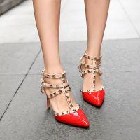 2015女鞋真皮夏季新款欧洲站凉鞋铆钉欧美夜店漆皮尖头高跟鞋细跟