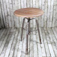 美式法式乡村工业风格铁艺 老榆木圆桌/圆几/咖啡桌/边几