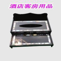 供应亚克力酒店用客房品、可放遥控器的纸巾盒订做、新款亚克力贝壳纸巾盒0769-86515433