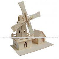 厂家直销 批发木制益智玩具 DIY玩具 3D木制仿真模型 - 荷兰风车