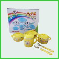 桂佳盛304优质不锈钢儿童餐具韩式宝宝卡通餐具礼品密封防烫十件套盒装