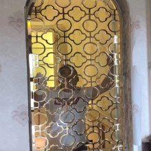青岛12厘k金雕花弧形铝艺楼梯扶手护栏浮雕壁画