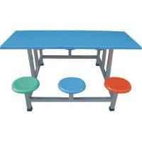 广东汕头地区六人圆凳餐桌椅批发安装 六人位连体玻璃钢餐桌椅生产价格 康腾体育