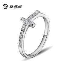 戒指 925纯银 微镶十字架戒指 时尚简约指环 韩国结婚钻戒韩版