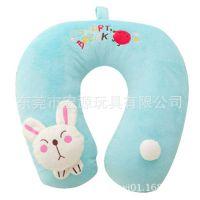 卡通U型护颈枕 脖子U型枕头 厂家可来图定制毛绒材质刺绣兔子枕头
