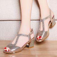 2015春夏季新款女式水钻粗跟鱼嘴女凉鞋子韩版性感中跟罗马凉鞋