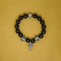复古十字架明星权志龙天然黑玛瑙男女情侣手链 一件代发CE406