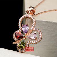 925纯银 女士项链吊坠 韩版时尚纯银盒子链 镶嵌 紫红蓝宝石吊坠