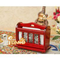 1:12娃娃屋DOLLHOUSE迷你家具模型 经典红木色提式报架收纳架