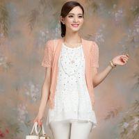 厂家直销夏季新款韩版雪纺衫拼贴外套开衫修身短款披肩 短袖坎肩