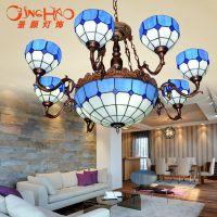 蒂凡尼吊灯地中海灯饰客厅餐厅吊灯具 简欧现代吊灯时尚蓝白灯具