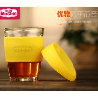 单层玻璃杯 厂家定制杯子227ML容量 摩西创意水杯 星巴克咖啡杯 柠檬黄