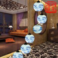 景德镇陶瓷灯具批发 田园中式吊灯客厅餐厅灯六头楼梯 创意装饰灯